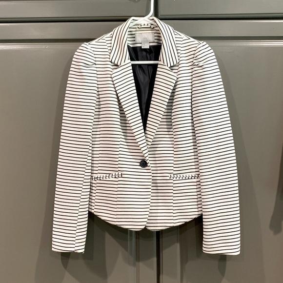 H&M cropped jacket. White / navy blue stripe. Sz 8